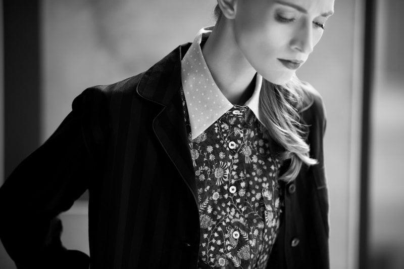 Un'immagine di Carola Insolera dalla campagna pubblicitaria di Bagutta scattata da Stefano Guindani