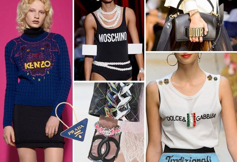 Da sinistra, in senso orario. Kenzo, Moschino, Dior, Dolce&Gabbana, Chanel, Prada