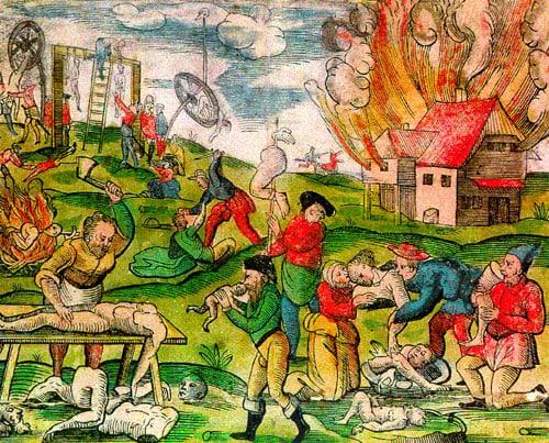 Un'illustrazione con scene di cannibalismo durante l'invasione russa in Lituania, 1571.