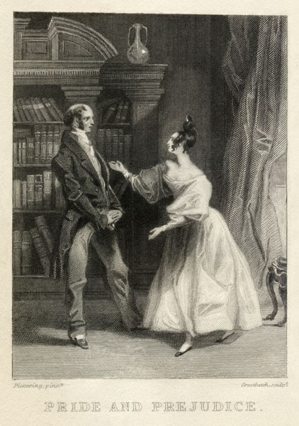 Illustrazione vintage tratta dal romanzo Orgoglio e Pregiudizio