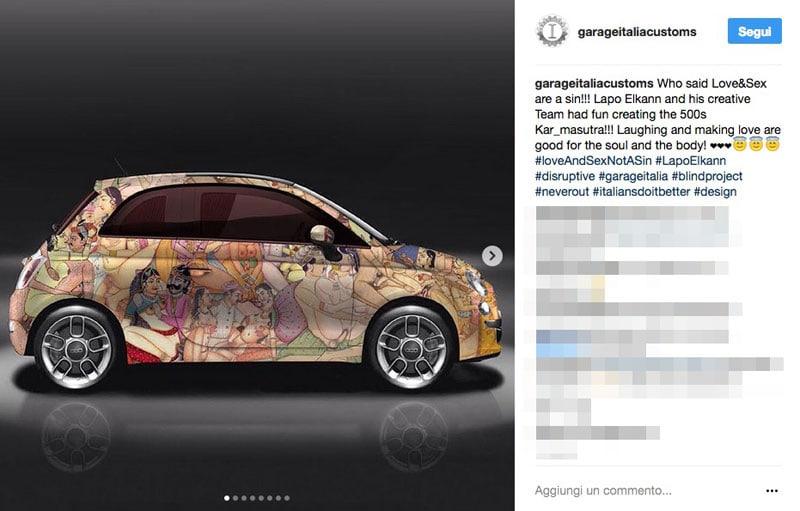 Lapo elkann riappare sui social con la kar masutra moda for Fiat 500 karmasutra