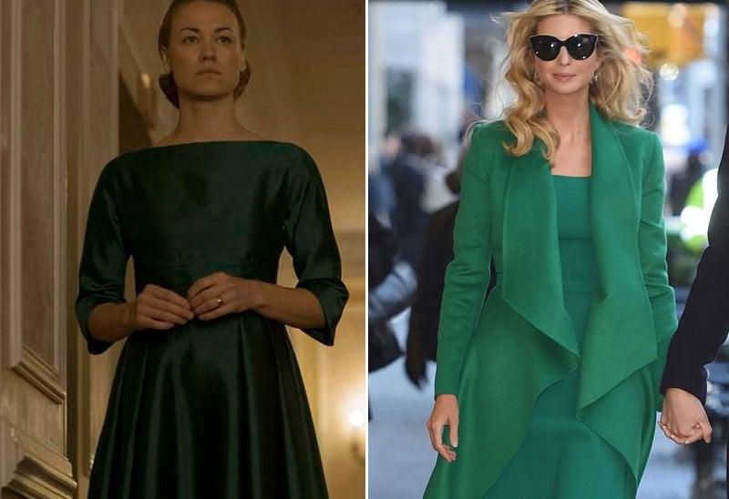 A sinistra Yvonne Strahovski in Handmaid's Tale e Ivanka Trump
