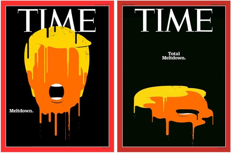 """Edel Rodriguez per Time, esempi di come Trump abbia scatenato """"la nuova età d'oro dell'illustrazione""""."""