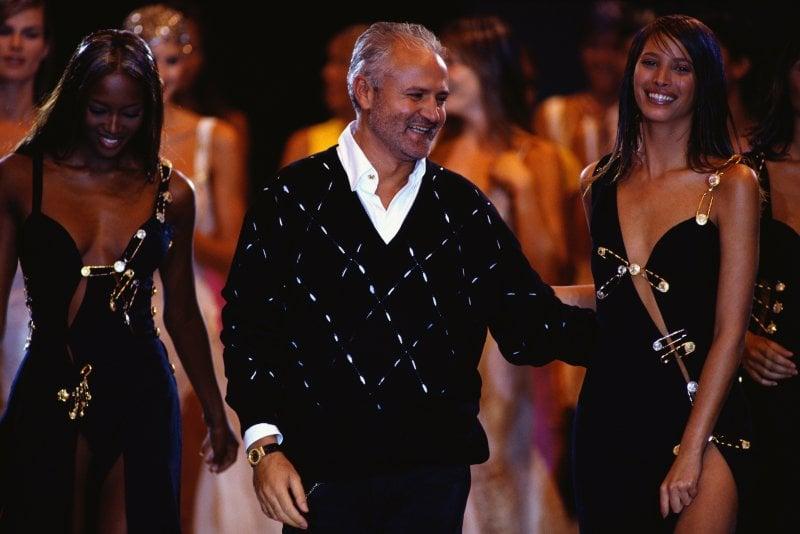 Gianni Versace con Naomi Campbell e Christy Turlington