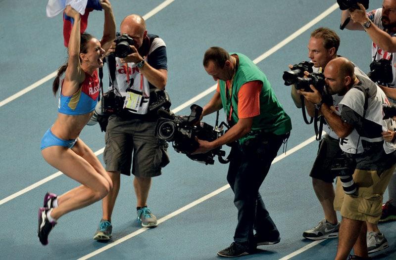 La vittoria ai Mondiali di atletica di Mosca nel 2013.