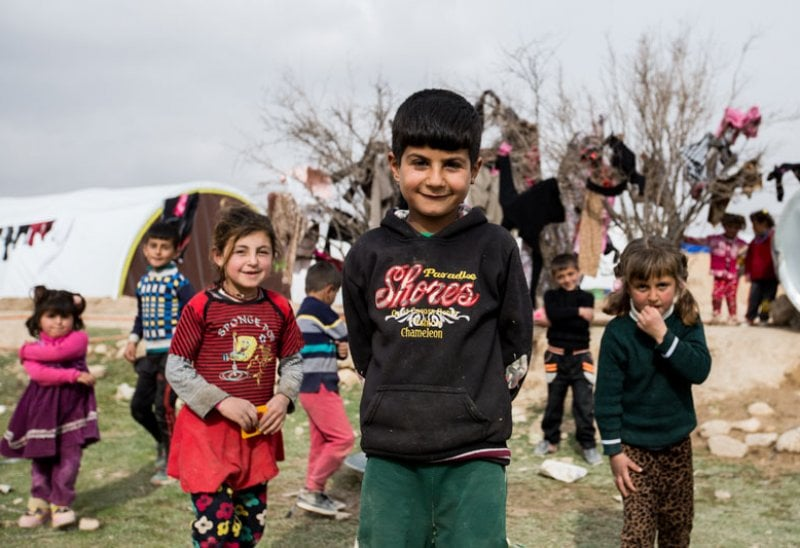 Le famiglie Yazidi in un campo vicino a Snuny, Iraq