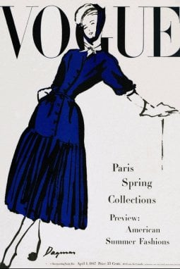 Un look di Dior su una cover di Vogue del 1947