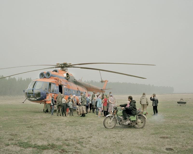 L'elicottero che porta derrate e posta.