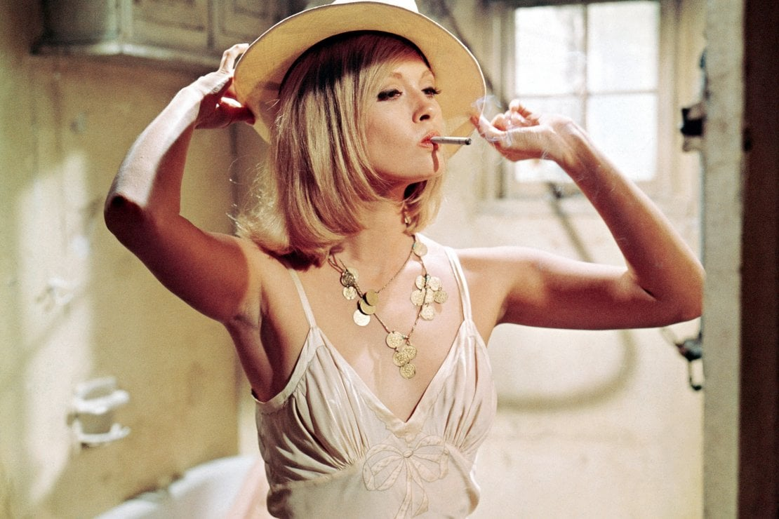 L'attrice Faye Dunaway sul set del film Bonnie and Clyde