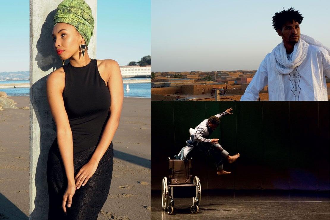 Da sinistra in senso orario:Thoki Tafeni, foto courtesy Thoki Tafeni; Mdou Moctar, foto di Christopher_kirkley/courtesy SahelSounds; Qudus Onikeku, foto di Christophe Raynaud De Lage/WikiSpectacle