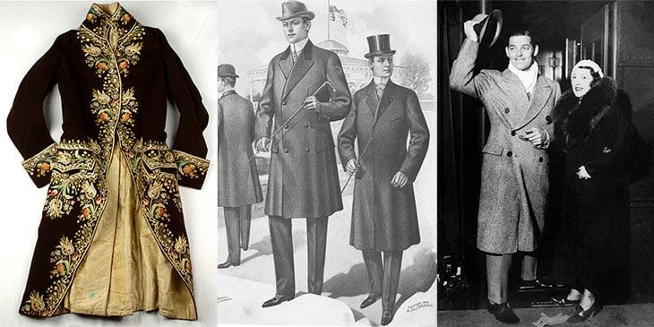 Da sinistra: la marsina francese, i primi cappotto di uomo di inizio '900 e un'immagine di Clark Gable con un modello in stile Brooks Brothers