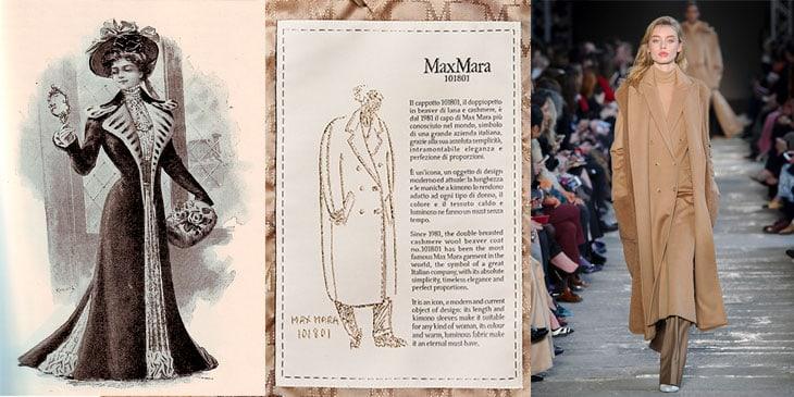 Da sinistra: la mitica 'doglietta'; l'etichetta dentro il cappotto più famoso di Max Mara, il modello 101801; un'immagine della sfilata Max Mara autunno inverno 2017 18