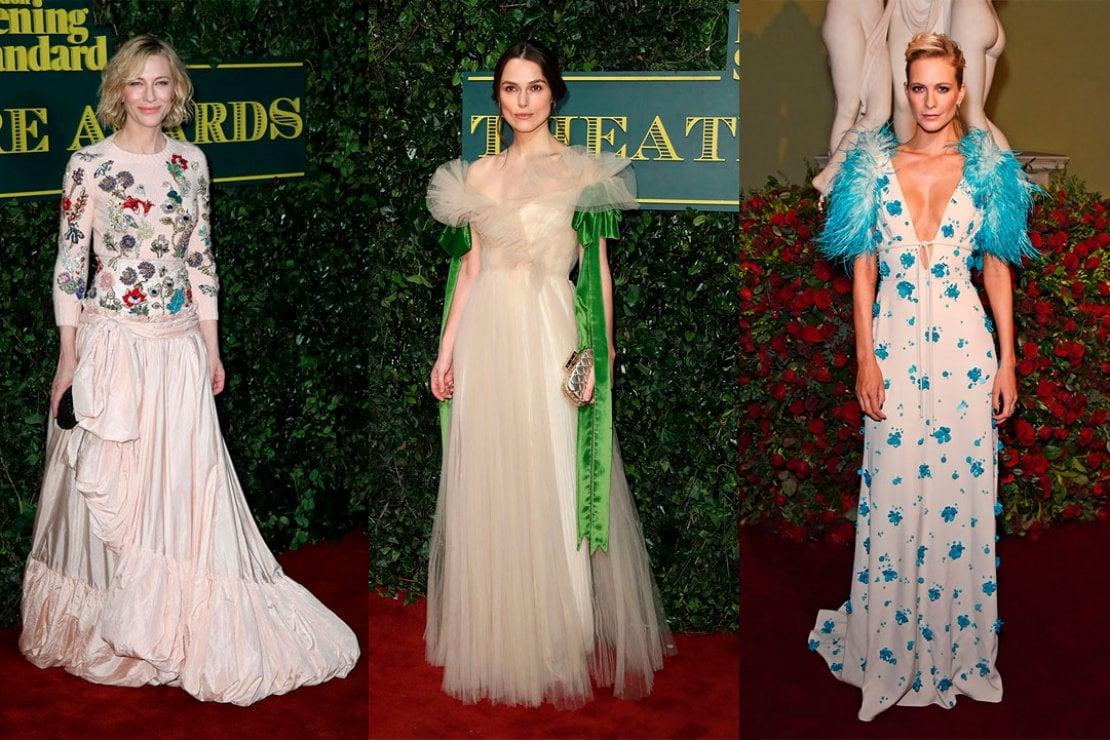 Cate Blanchett, Keira Knightley e Poppy Delevingne agli Evening Standard Theatre Awards di Londra