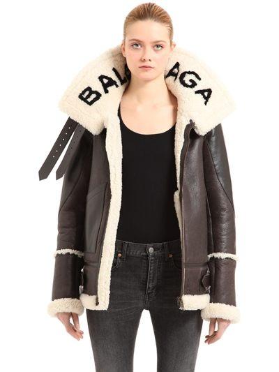 Giacca di pelle e sharling, Balenciaga in vendita da Luisa Via Roma