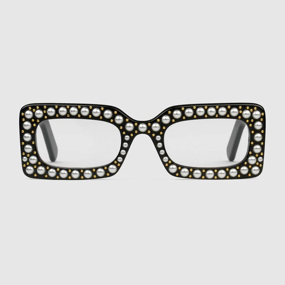 Occhiali rettangolari tempestati di perle, Gucci