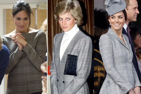 Meghan Markle con Kate e Diana: indossa il check, la stoffa reale