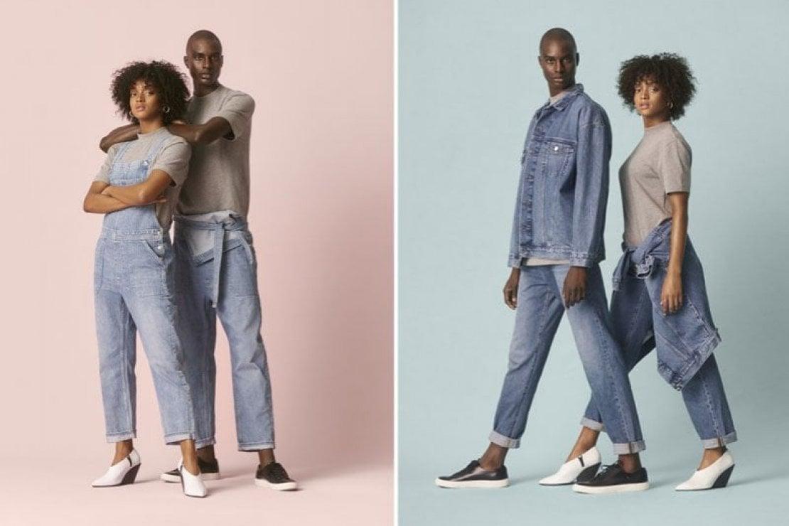 Due immagini della collezione H&M Denim United, linea di jeans unisex