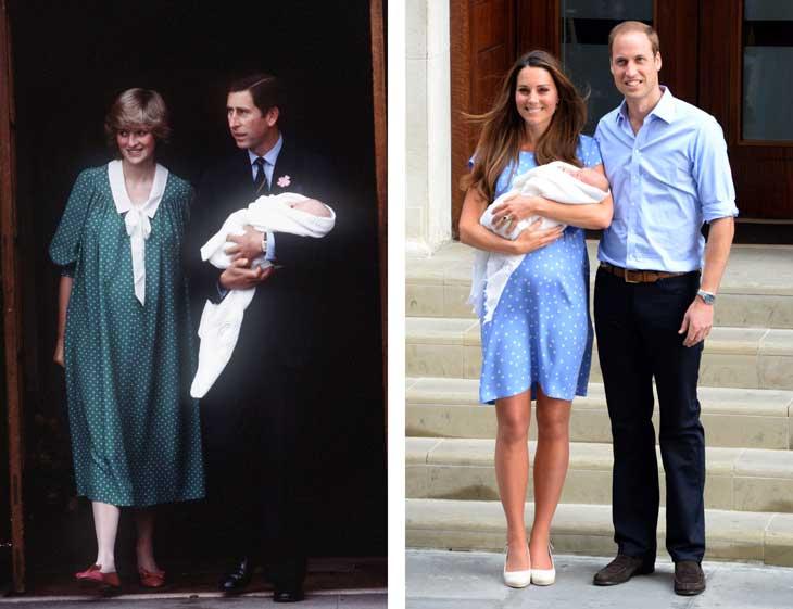 A sinistra Diana e Carlo escono dall'ospedale con il principe William. A destra Kate e William con il piccolo George