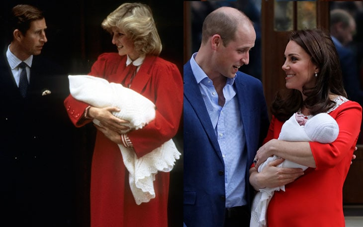 Ieri e oggi: Carlo e Diana con William. E William con Kate e il loro terzogenito