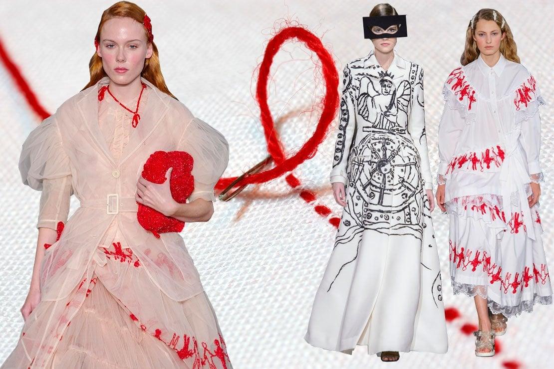 Ricami rossi dalla sfilata di Simone Rocha e neri da Christian Dior
