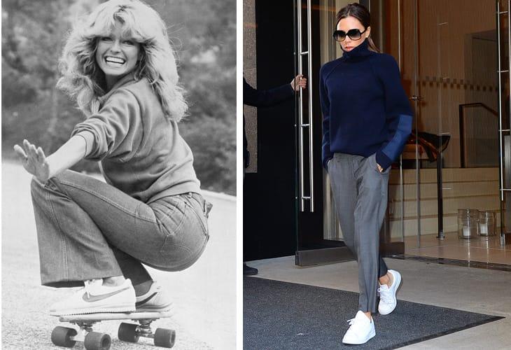 1977, Farrah Fawcett con un paio di Nike. A destra Victoria Beckham con le Stan Smith