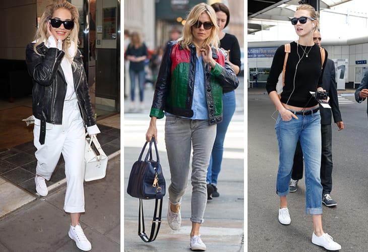 Da sinistra Rita Ora, Sienna Miller e Karlie Kloss con le Superga