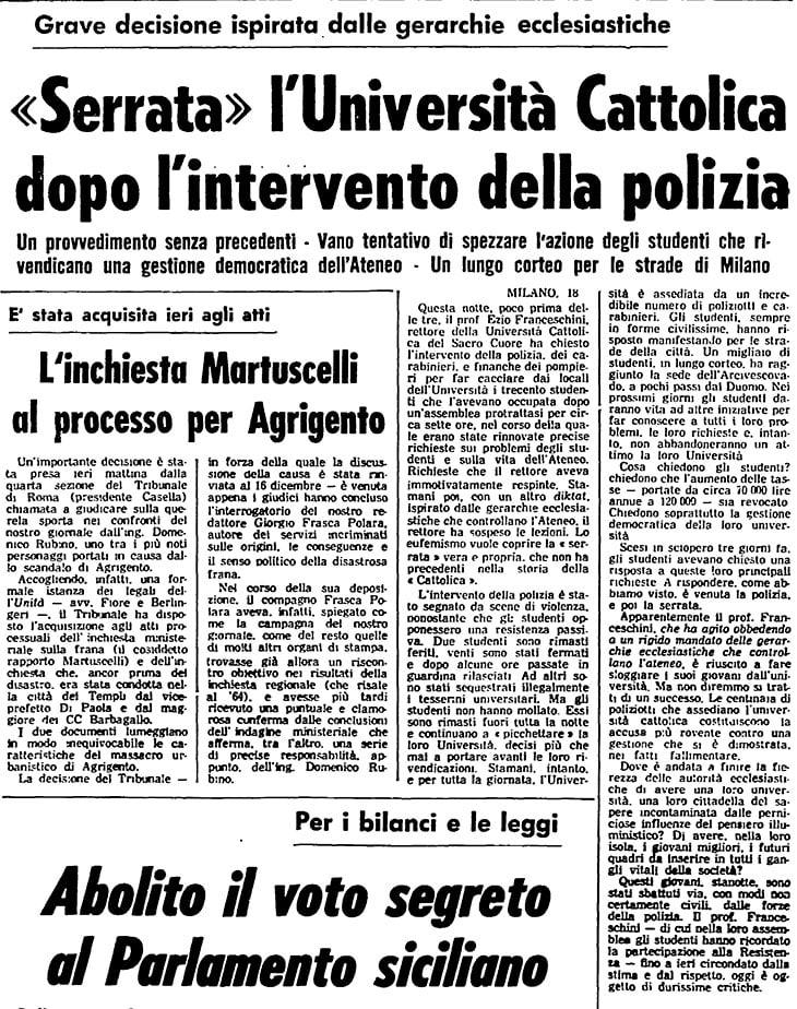 L'Unità, 19 novembre 1967