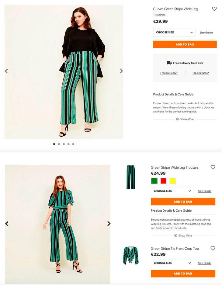 Stesso pantalone, prezzo diverso: dalla taglia 38 alla 48 costa 24.99€, sopra la taglia 50 invece il costo diventa di 29.99€