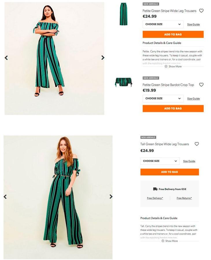 Il sovrapprezzo vale solo per le taglie forti: il pantalone nella collezione petite e in quella tall costa sempre 24.99€