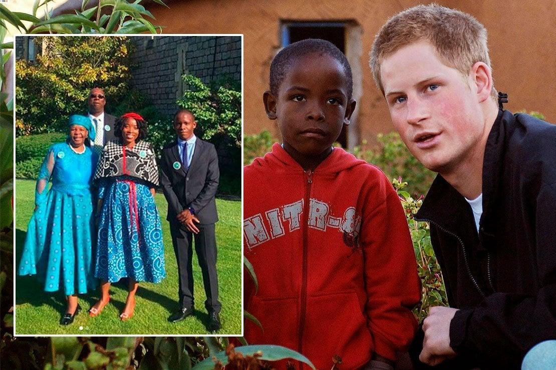 Harry e Mutsu nel 2006 in Lesotho e nel riquadro il ragazzo oggi al Royal Wedding