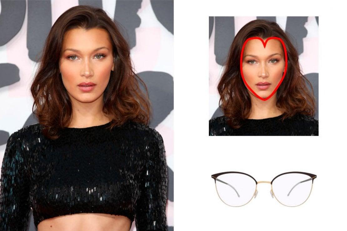 A sinistra Bella Hadid, a destra occhiali ovali Mykita modello Anita in metallo dorato e marrone scuro