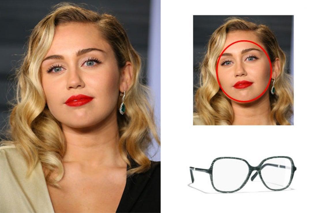 A sinistra Miley Cyrus, a destra occhiali Chanel glitterati verdi modello quadrato in acetato e metallo