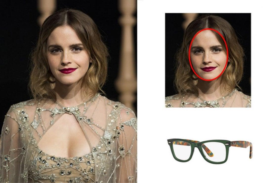 A sinista Emma Watson, a destra occhiali Ray-Ban modello original Wyfarer optics verde