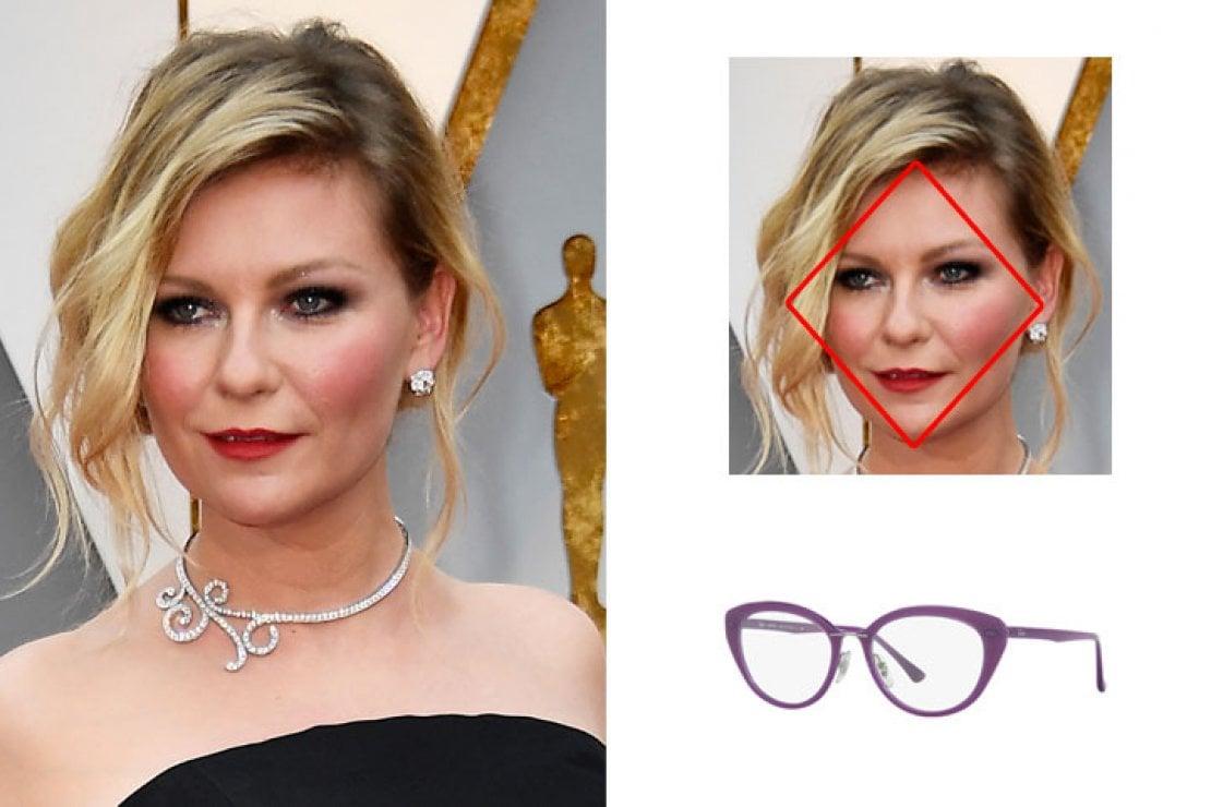 A sinistra Kristen Dunst, a destra occhiali Ray-Ban viola modello RB7088 in plastica e acetato