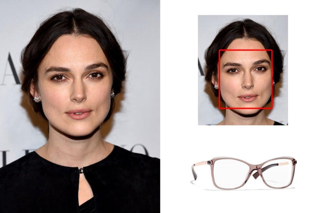 A sinistra Keira Knightley, a destra occhiali Chanel rosa modello a farfalla in acetato e metallo