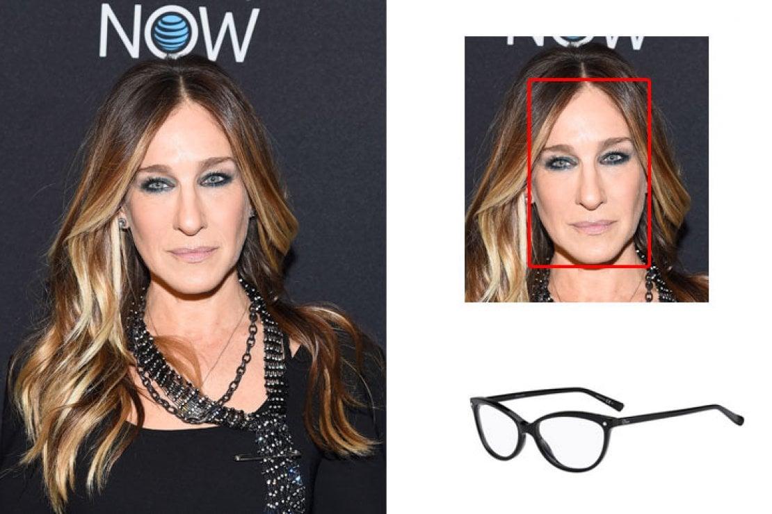 A sinistra Sarah Jessica Parker, a destra occhiali ovali Dior neri modello CD 3285