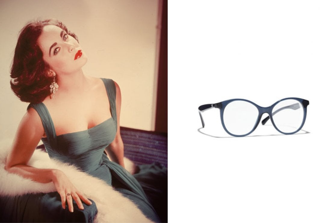 A sinistra Elizabeth Taylor, a destra occhiali Chanel modello cat eye in acetato blu con aste nere a contrasto