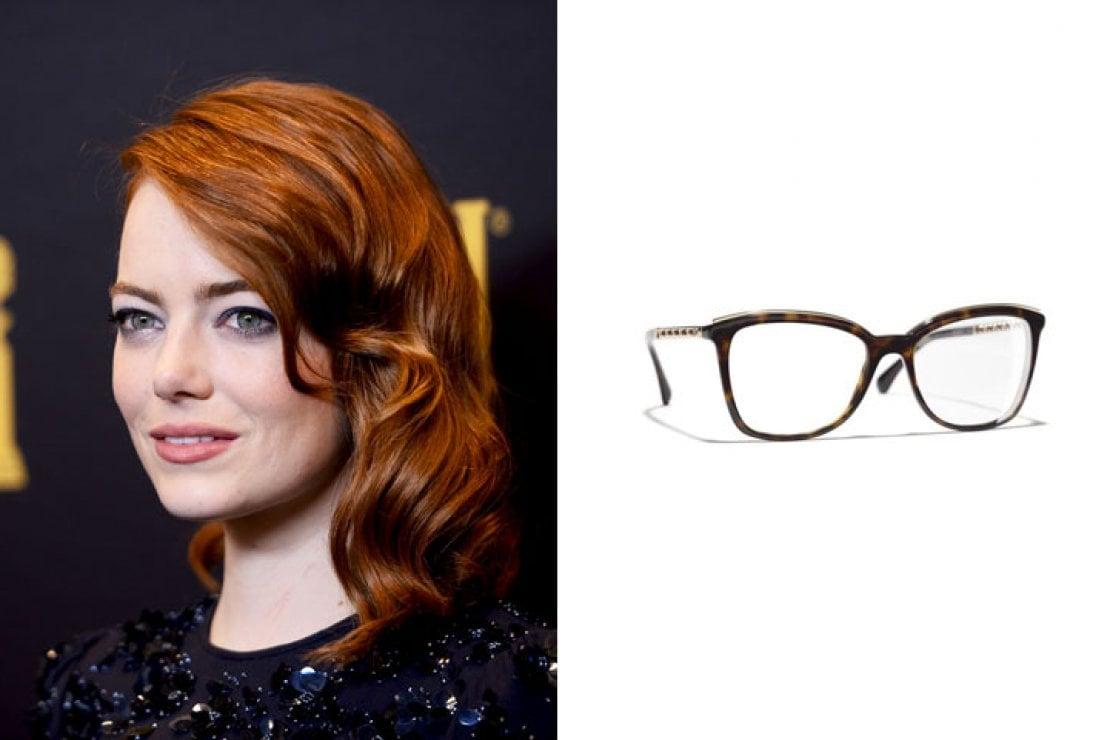 A sinistra Emma Stone, a destra occhiali Chanel quadrati in acetato color tartaruga scuro e metallo dorato