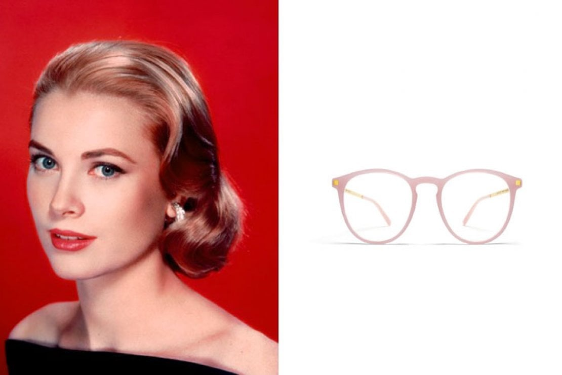 A sinistra Grace di Monaco, a destra occhiali Mykita modello Nukka in acetato rosa sorbetto e metallo dorato