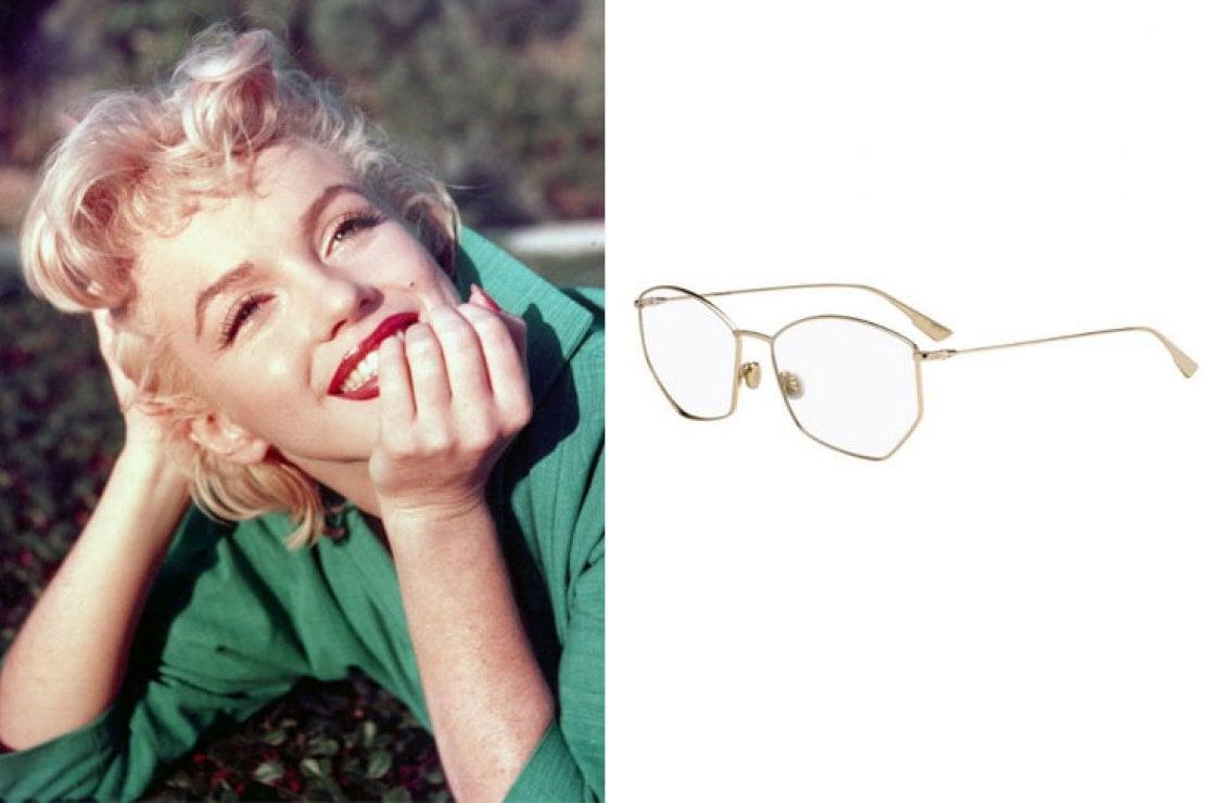 A sinistra Marylin Monroe, a destra occhiali Dior modello Stellaire in metallo dorato