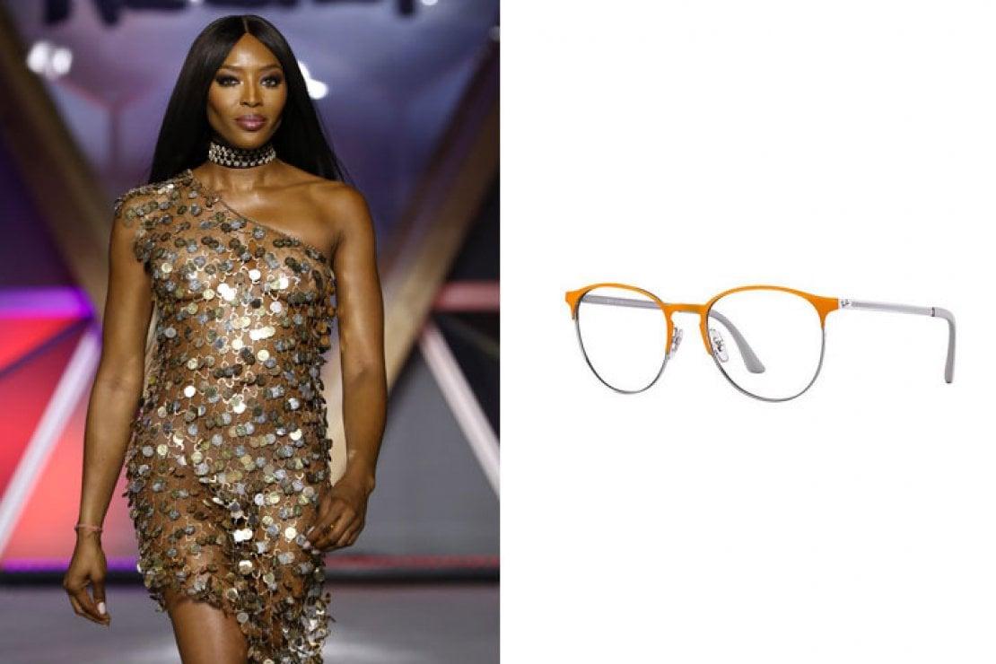 A sinistra Naomi Campbell, a destra occhiali Ray-Ban modello pantos RB6375 in metallo arancio e argento