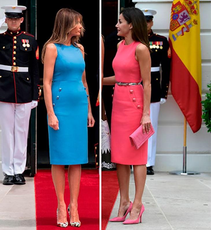 A sinistra Melania nel 2017 durante la visita a Panama, a destra Letizia durante la visita negli Stati Uniti