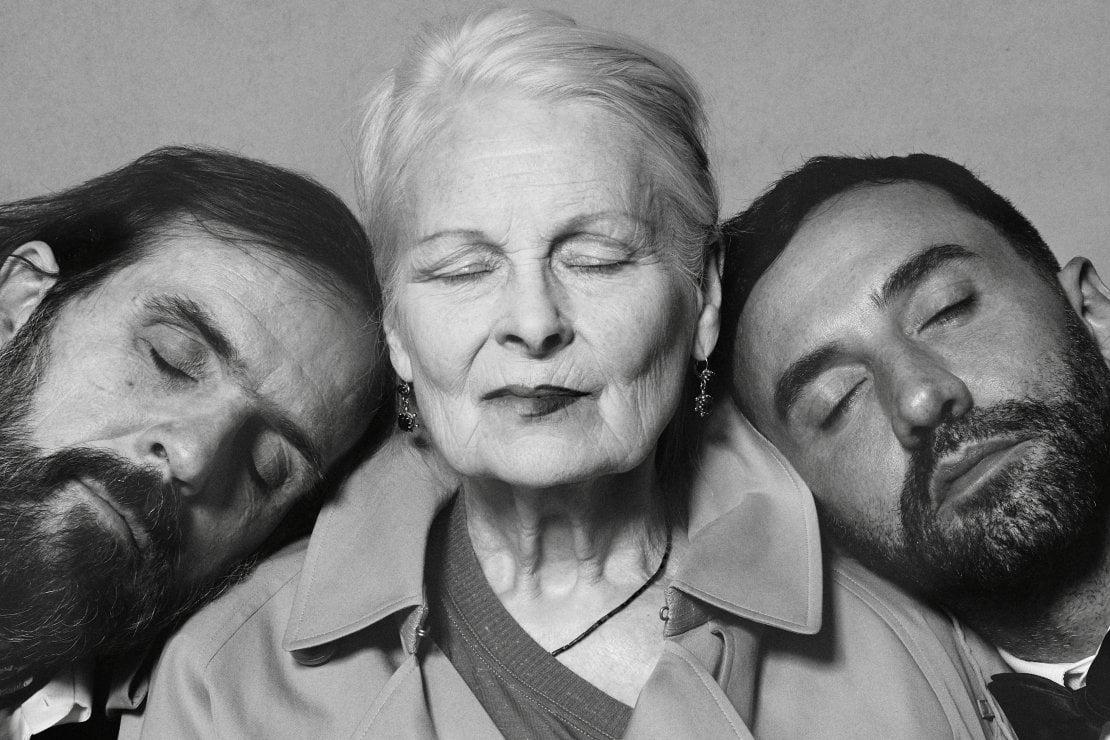 Andreas Kronthaler, Vivienne Westwood e Riccardo Tisci.© Courtesy of Burberry/ Brett Lloyd