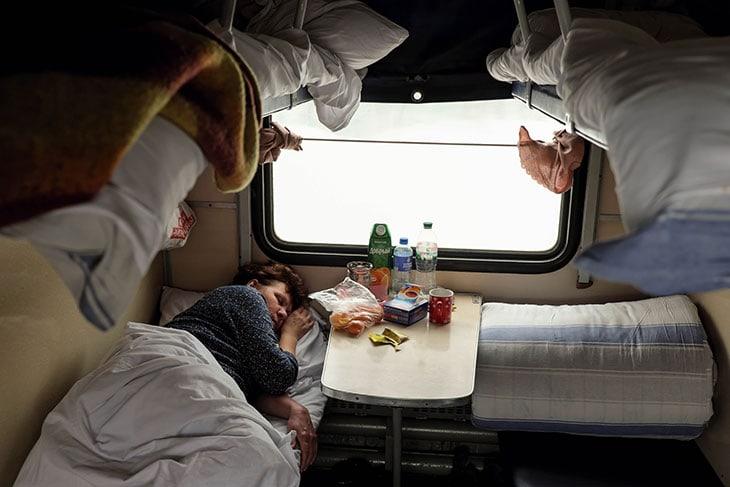 Lo scompartimento di Eleonora nel suo viaggio in Treno tra Ucraina e Russia