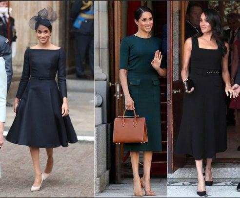 Luglio 2018  durante il viaggio ufficiale in Irlanda Meghan cambia tre abiti  in un giorno  il primo (da sinistra) è un total look Dior fc35a43ea89