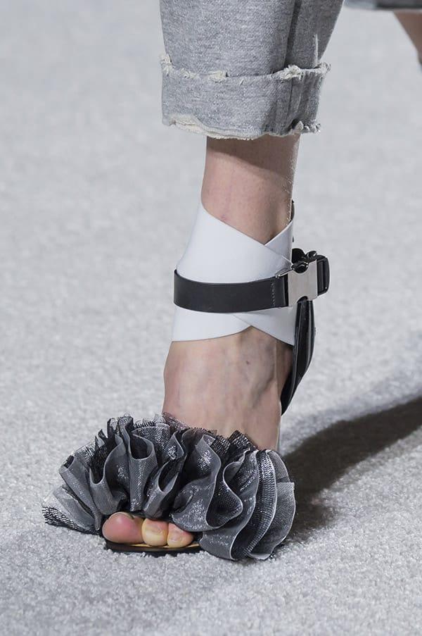 Sandalo con fascia di ruches, Balmain