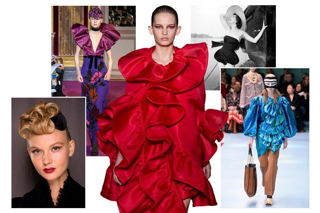 Dall'alto in senso orario: Andrew GN, Valentino haute couture, modella del 1955, Gucci, acconciatura Chocheng