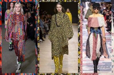 Lunghi, colorati: gli abiti foulard dell'Autunno Inverno 2018-19