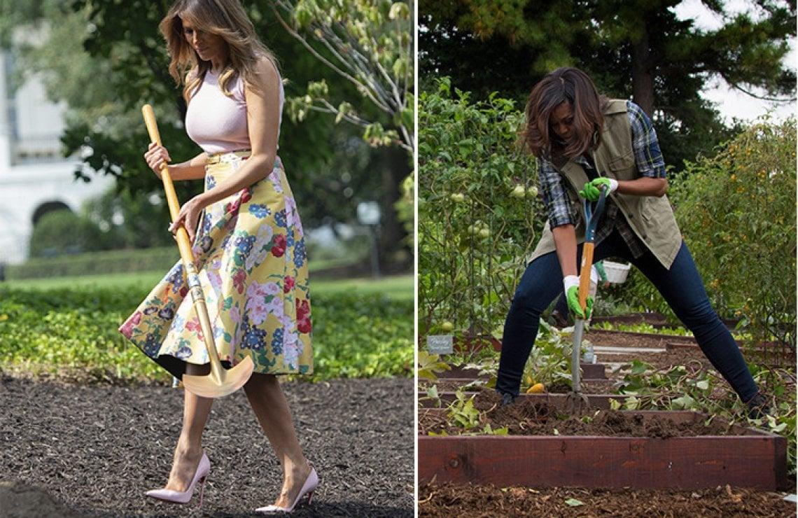 Risultati immagini per Melania Trump in Valentino e scarpe con il tacco mentre fa giardinaggio foto
