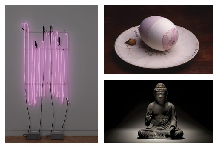 Da sinistra e in senso orario: B. Nauman (MoMa, N.Y.), L.G. Tawney (Frieze), Amida Buddha (Tefaf Fall, N.Y.).